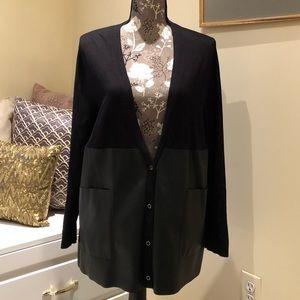 Zara Faux Leather Oversized Cardigan